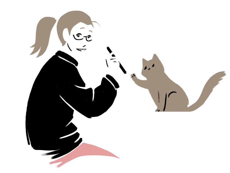 Piirroskuva tekijästä kissoineen - Drawn illustration of the artist with her cat
